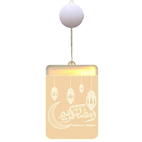 XIANZI Eid Mubarak - Lámpara colgante 3D Ramadán rectangular de acrílico LED lámpara colgante decoración