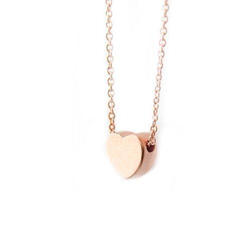 layering necklace dainty heart minimalist necklace Tiny Rose Gold Heart Necklace Rose Gold Heart dainty rose gold heart Heart Pendant