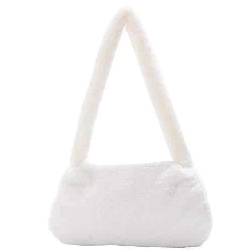 Bolso de hombro, bonito bolso de hombro para las axilas, bolso de hombro de felpa, para mujer, estampado animal, mini axilas, cartera de mano de moda de felpa, bolso de hombro, color, talla Medium