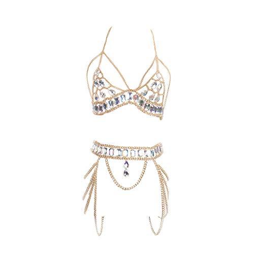VICKY-HOHO Körperschmuck Damen Beinkette Münzen Anhänger Körperkette, Hotpants Bikini Badeanzug Sommer Oberschenkelkette Silber Gold Kompatibel mit Frauen (GOLD, Legierung, Strass)