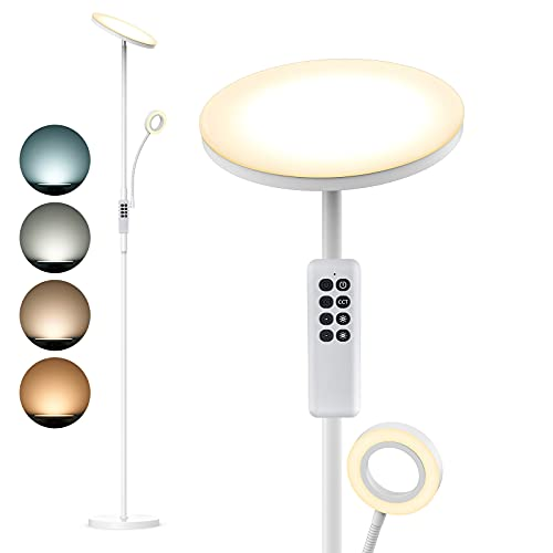 Lámpara de pie LED ANTEN SNOW | 30W+5W, con Luz de Lectura | Regulable 4 Temperaturas de Color, con Mando a Distancia | Níquel Moderno | Lampara para Salon, Dormitorio, Oficina, Hotel | Diseño 2021