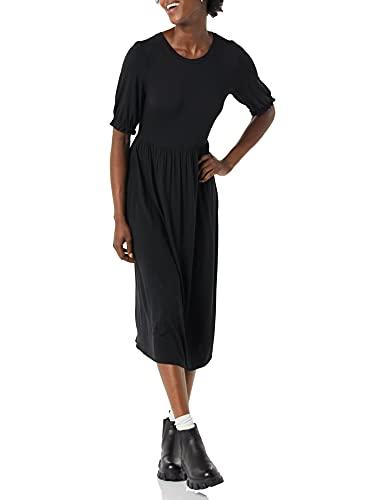 Amazon Essentials Strick-Midikleid mit Rundhalsausschnitt und kurzen Ärmeln Kleid, Schwarz, XL
