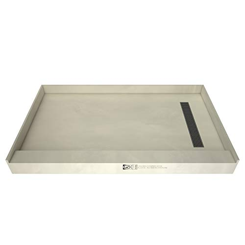 Redi-Trench Shower Pan with Right Drain – Single Curb, Brushed Nickel, 48″x34″