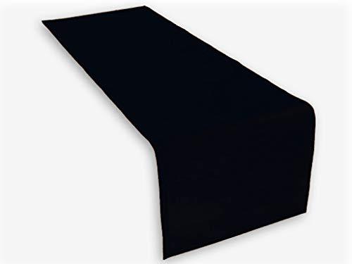 Hochwertiger Tischläufer aus Baumwolle. Tischtuch, Tischdecke. Große Auswahl an Farben. (Schwarz)