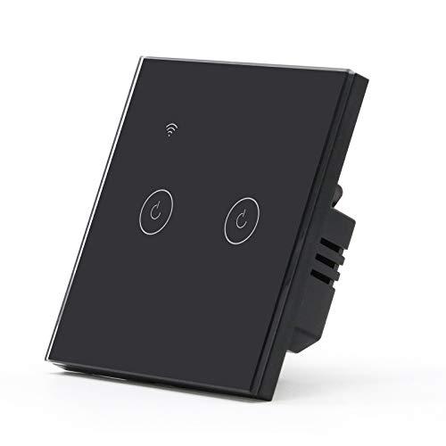BSEED Interruptor de Pared WIFI,Interruptor Inteligente 2 Gang 2 Vias Compatible con Alexa, Google Home, Control de APP y Función de Temporizador,Negro Pantalla Táctil【Se necesita Neutro】