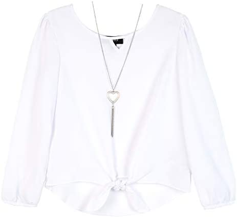 Amy Byer Girls Picture Perfect Tie Front Chiffon Top True White L product image