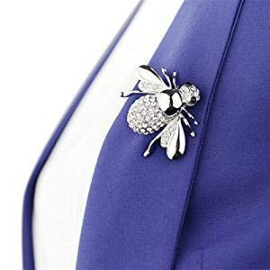 Eleusine Brooches for Women, 3D Lovely Bee Animal Rhinestone Brooch Pin (Silver)