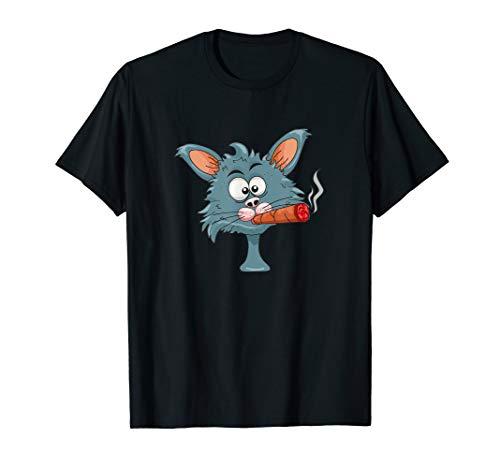Lustige Katze mit Zigarre Rauchender Kater T-Shirt
