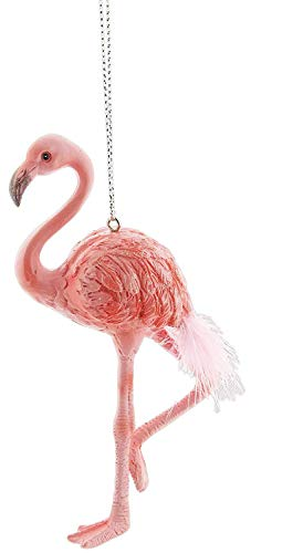 Twisted Anchor Trading Co Flamingo Ornament - 5 Inch Pink Flamingo Christmas Ornament - Sparkly Glitter Wing Accents and Feather Tail