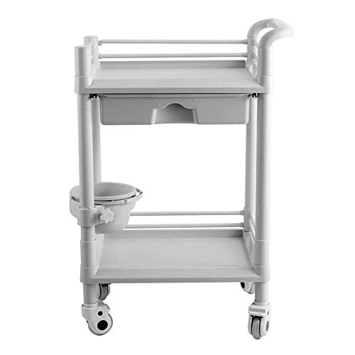 Zhao Li 2 Tier Salon Trolley Wagen mit Rädern und Mülleimer, Medical Wagen mit Schublade, Mobile Care Wagen for Zahnmedizin Erste Hilfe, Lagerung Werkzeugwagen (Größe : 54x37x90cm)