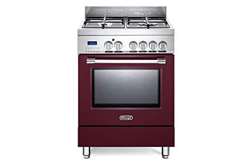 PRO 66 MR ED - Cocina de gas (4 fuegos, con horno eléctrico), color burdeos