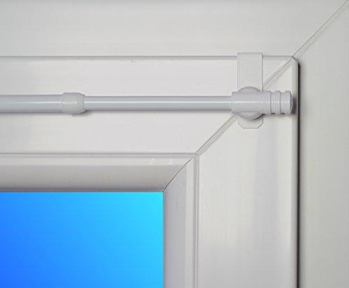 dekondo Gardinenstange Rapid Fix-klick 75-110cm ausziehbar Weiß (für Fensterdicke 15-20mm) Klemmstange/Spannfix