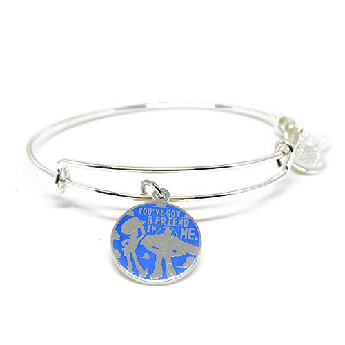 Alex and ANI Disney Parks Toy Story You've Got A Friend in Me Bangle with Woody and Buzz Lightyear - Inspirational Quote - Charm Bracelet Jewelry Gift (Silver Finish)