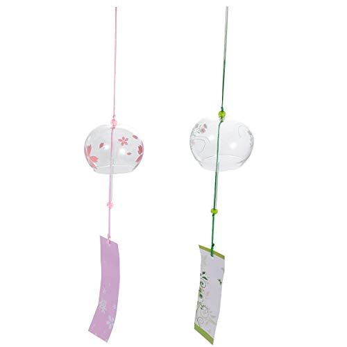 VOSAREA 2Pcs Japanische Windspiele Wind Glocken handgemachtes Glas Home Dekore japanische Kirschblüte Windspiele hängende Dekorationen