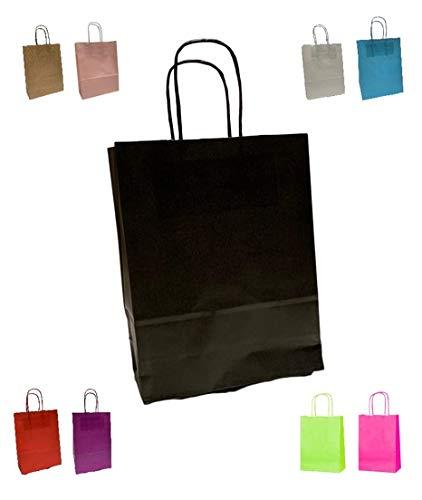 Packitsafe Papiertüten mit gedrehtem Griff – A4 Größe Medium Geschenktüten 24 x 11 x 31 cm – verschiedene Farben und Mengen Schwarz