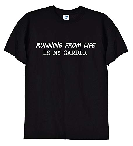 TrendySnug Tees Running from Life is My Cardio Funny Fitness Gym Camiseta para hombre y mujer, unisex, color blanco o negro 275 Negro Negro ( XXL