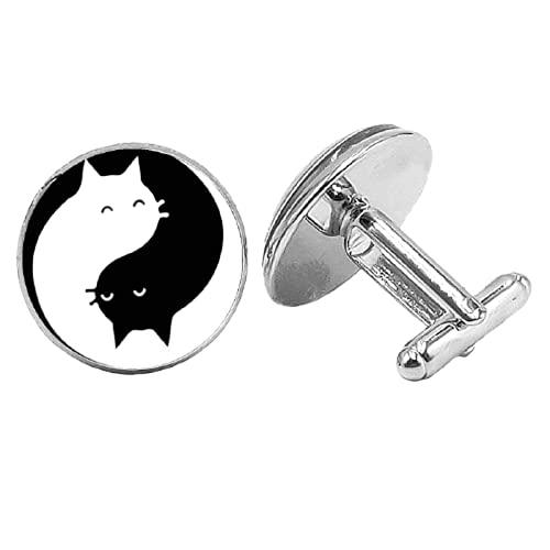Nuevo Anime de dibujos animados Yin y Yang Cat Badge Gemelos de cristal gótico convexo redondo de los hombres para enviar la joyería del regalo de los hombres
