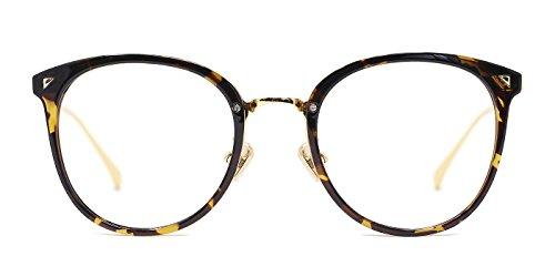 TIJN Runder Retro übergroßer Optischer Brillen Rahmen Nicht Verschreibungspflichtiges Objektiv für Damen und Herren