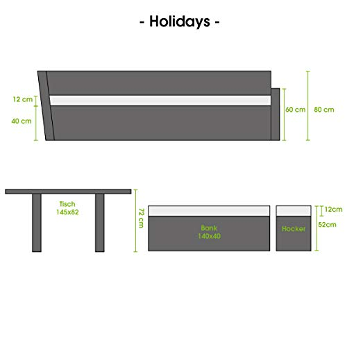 BRAST Poly-Rattan Gartenmöbel Essgruppe Lounge Set Sitzgruppe Outdoor Möbel Garten Garnitur Sofa Holidays Grau Anthrazit - 5