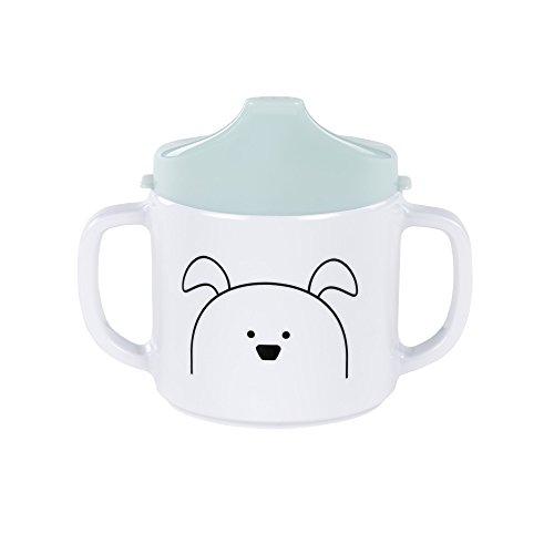 LÄSSIG Tasse Trinklernbecher Schnabeltasse Kinder Baby Kleinkind mit Henkeln rutschfest spülmaschinengeeignet Melamin, Little Chums Dog, mint
