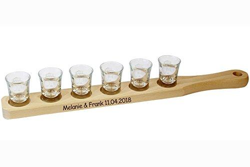 Schnapslatte mit Gravur - personalisiert mit Namen oder Spruch - Schnapsglasträger für 6 Schnapsgläser, Servierlatte für Partys, Stammtisch, Schnapsrunde oder als Geschenk