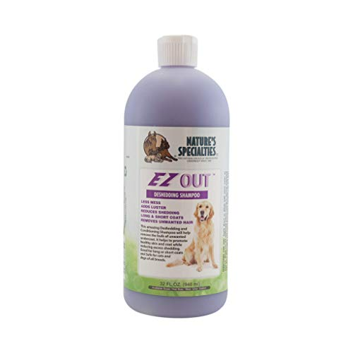 Nature's Specialties EZ Out Deshedding Shampoo for Dogs Cats, Non-Toxic Biodegradeable, 32oz