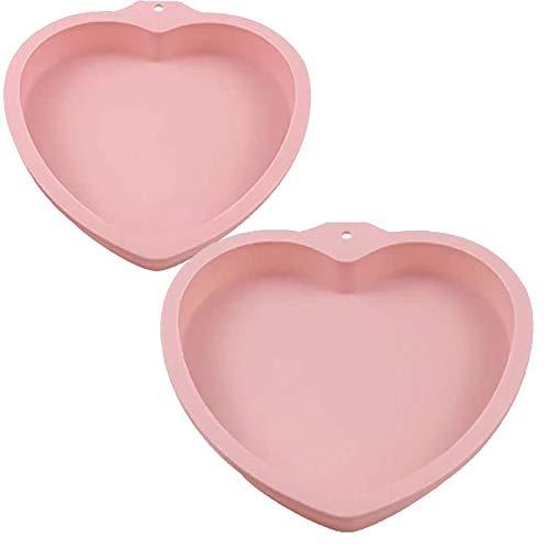 2 Stück Herz Kuchen Backform aus Silikon, Herz Kuchenform, 6 & 8 Zoll, Big Heart Flexibles Silikon, Antihaft Wiederverwendbar, zum Backen von Herzförmigen Muffins Kuchenbrot Laib (Pink)