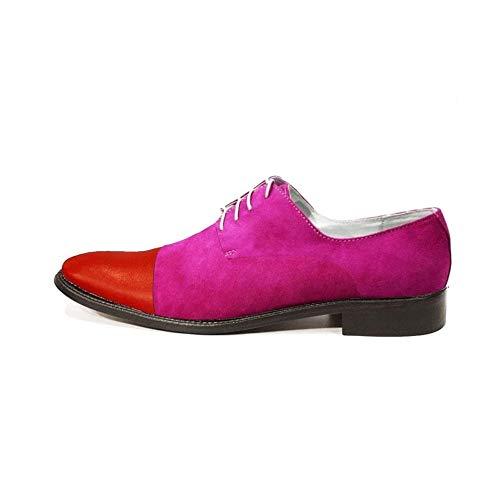 Modello Sistino - EU 39 - US 6 - UK 5-24,7 cm - Cuero Italiano Hecho A Mano Hombre Piel Color Rosado Zapatos Vestir Oxfords - Cuero Ante - Encaje