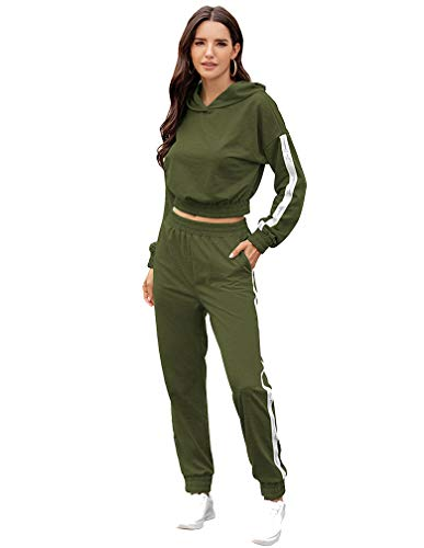 Lavnis Women's Tracksuit Plus Size 2 Piece Outfits Hoodie and Pants Sports Sweatsuit Set Green S