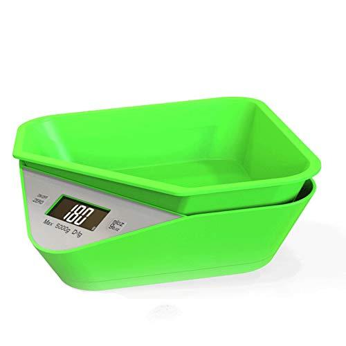 NYDZ Báscula digital de cocina con cuenco extraíble, báscula de alimentos digital gramos, gramos, gramos, para cocinar y hornear, báscula de peso máximo de 5 kg, color verde