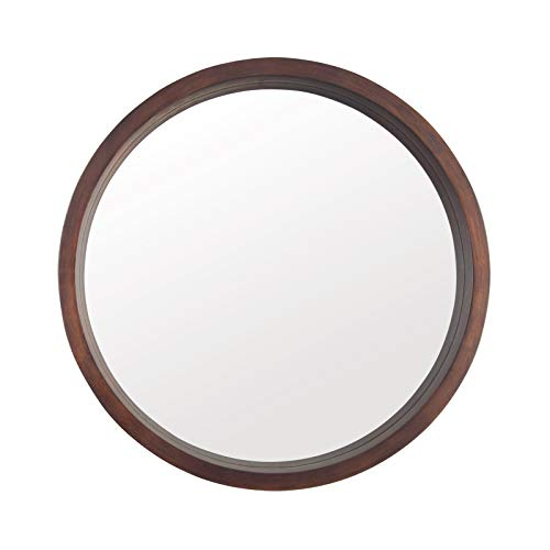 Beauty4U Circle Mirror with Wood Frame, Round Modern Decoration Large Mirror for Bathroom Living Room Bedroom Entryway, Walnut Brown, 24'