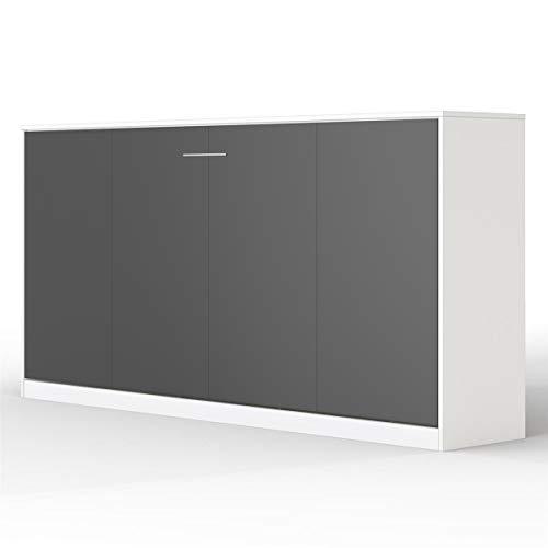 SMARTBett Basic Cama abatible Cama Plegable Cama de Pared (Blanco/Antracita, 90 x...