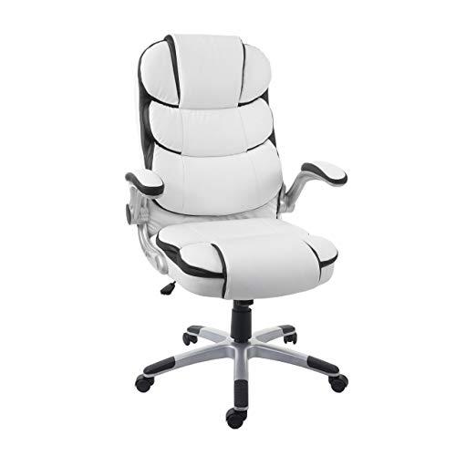 Mendler Bürostuhl HWC-F80, Schreibtischstuhl Chefsessel Drehstuhl, Kunstleder ~ weiß