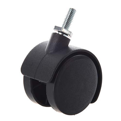 JYJIAJU Drehbare Lenkrolle, 6 mm Gewinde, 40 mm, Schwarz