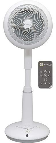 Iris Ohyama, Ventilador de pie potente y ultra silencioso con 3D oscilating, motor DC Jet y control remoto - Woozoo STF-DC15T - 25 W, distancia de 31 m, Blanco