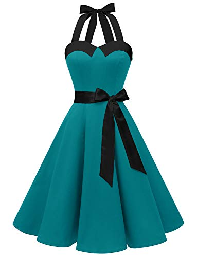Dressystar Vintage Polka Dot Retro Cocktail Prom Dresses 50's 60's Rockabilly Bandage Peacock Blue XS