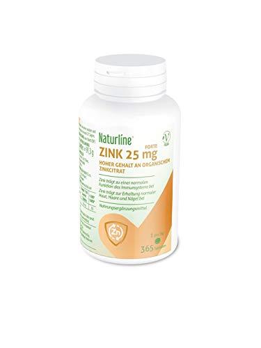 Naturline Zink Forte 25 mg | Zink Tabletten hochdosiert | Haar Vitamine, Nahrungsergänzungsmittel für gesunde Nägel und Haut | 365 Tabletten