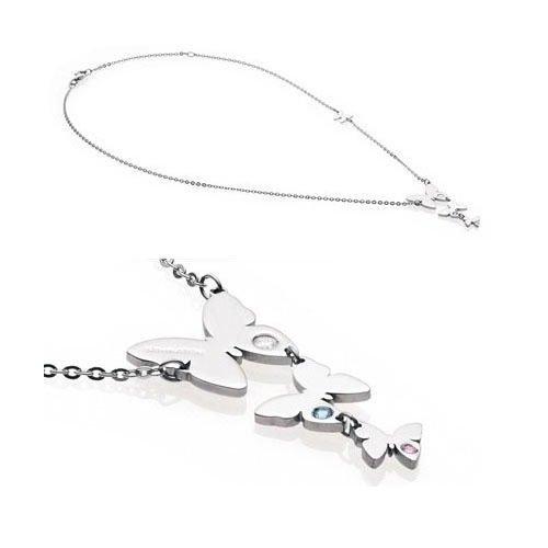 Nomination Butterfly Halskette mit langem Anhänger aus Edelstahl und farbigem Stein