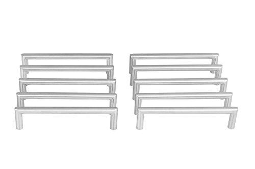 Gedotec Design Schrankgriff Edelstahl Möbelgriff 128 mm Stangengriff rund - Leila | Türgriff mit Lochabstand 128 mm | Schubladengriff Edelstahl matt gebürstet | 10 Stück - Küchen-Griff mit Schrauben