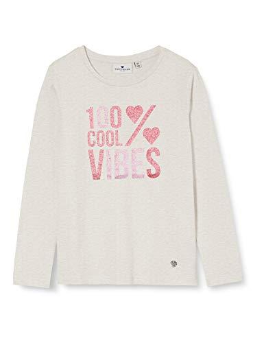 TOM TAILOR Mädchen Langarmshirt T-Shirt, Off White Melange|White, 140