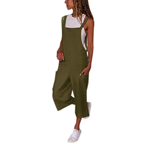Shinehua Jumpsuit Damesbroek, elegant, lange overalls, mouwloos, baggy, speelpak, brede broek, grote maten, bib, broek, playsuit, boyfriend Large legergroen