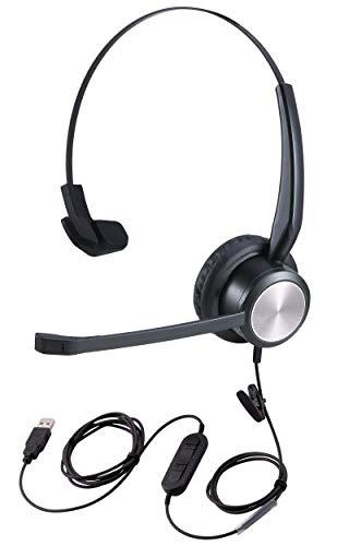 USB-Headset für Zoom Meetings mit Stummschalttaste, PC-Headset für Microsoft Teams Videokonferenzen mit Mikrofon, Diktier-Headset für Nuance Dragon Spracherkennung, Online-Lehrer-Headset für Lehrer