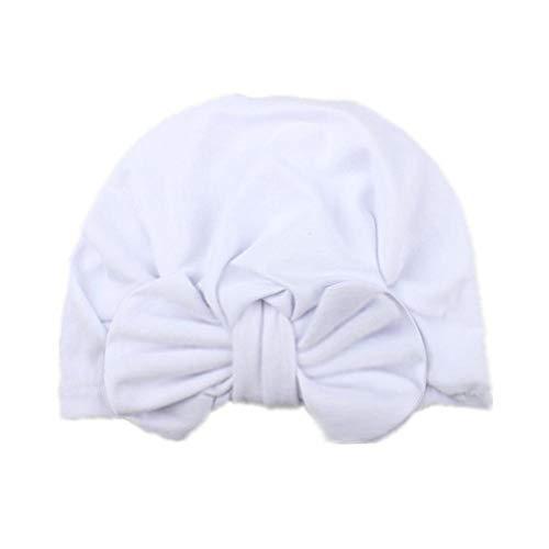 Lankater Baby-turban Hüte, Bogen-baby-hut-turban-knoten, Säugling Beanies Neugeborenes Krankenhaus Hut, Kopf-verpackung Hauptzusätze (weiß)