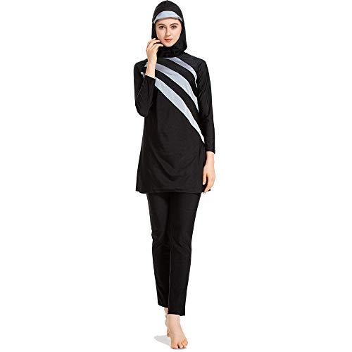 Grsafety Damen Muslimischen Badeanzug - Full Cover Bademode Bescheidene Badebekleidung Swimwear Burkini Frauen, Schwarz-Grau, M