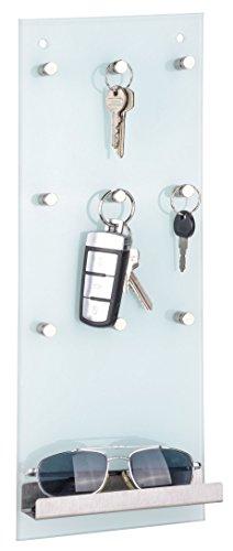 Spetebo Glas Schlüsselleiste mit Ablage - Schlüsselbrett mit 9 Metall Haken - Schlüsselablage Schlüsselboard