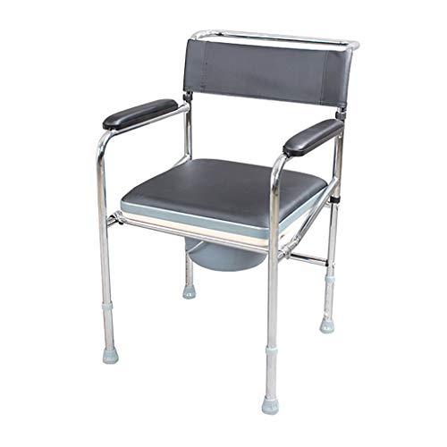 Stalen buisframe opvouwbaar nachtkastje commode over toilet douche stoel, verstelbare hoogte zitting, voor oudere gehandicapten mensen zwangere vrouwen
