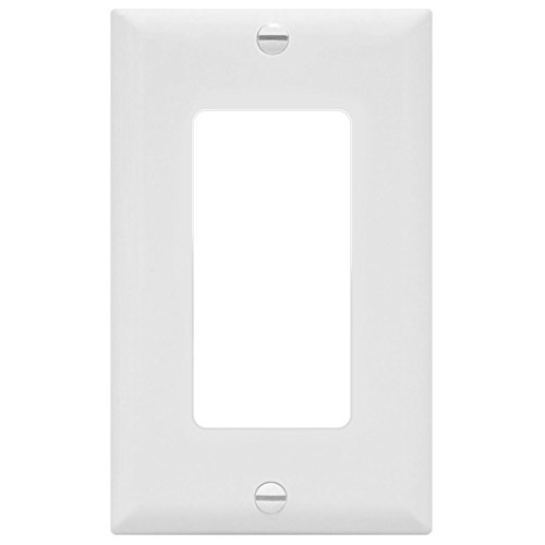 ENERLITES Decorator Light Switch or Receptacle Outlet Wall Plate, Size 1-Gang 4.50' x 2.76', Unbreakable Polycarbonate Thermoplastic, UL Listed, 8831-W, White