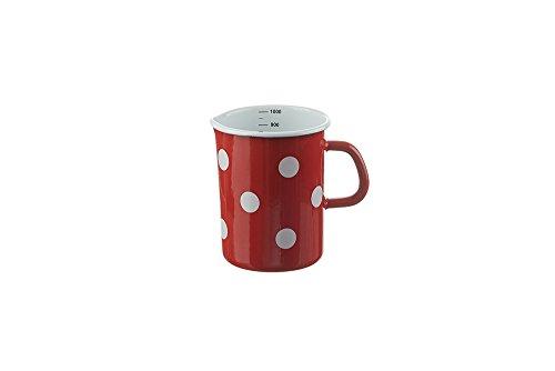 Münder Emaille - Messbecher, Litermaß, Maßbecher, Küchenmaß - Nostalgisch, Emaille - 1 Liter - Farbe: Rot mit weißen Punkten