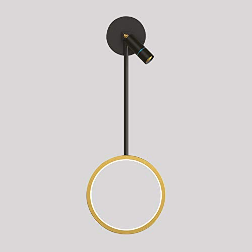 LED Wall Lamp Indoor Dimmable Bedroom Wall Light, Living Room Lamp with Rotatable Spotlight, Black Bed Lamp with Gold Ring Hanging Fixture, Metal Decoration Light for Corridor Stairs 13W Ø20cm