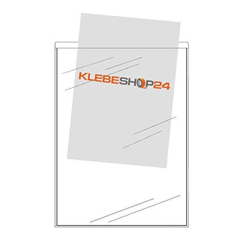 SICHTHÜLLEN SELBSTKLEBEND | DIN A4, A5, A6 oder A7 | Schmale Seite offen | 20 oder 100 Stück | Klarsichthüllen zum Kleben | Rechtecktaschen für Dokumente, Prospekte, Flyer, Fotos, Karten etc. / DIN A6 20 Stück